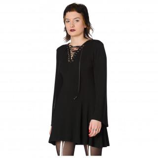 Robe noire à col en v lacé - Banned