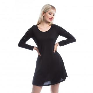 Robe noire gothique COLLETTE à manches lacées - Innocent Lifestyle