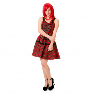 Robe punk-rock Tartan à lacets - Banned
