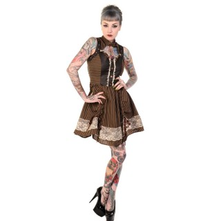 Robe steampunk Banned marron à rayures et pièces similicuir