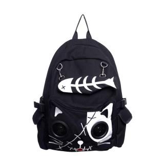 Sac à dos goth-rock Banned noir et blanc à tête de chat avec les yeux en enceintes