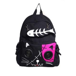 Achat Sac à dos goth rock Banned noir et rose à tête de chat