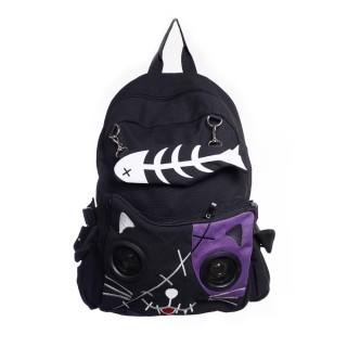 Sac à dos goth-rock Banned noir et violet à tête de chat avec les yeux en enceintes