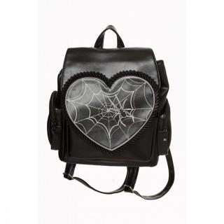 Sac à dos gothique avec coeur à toile d'araignée - Banned