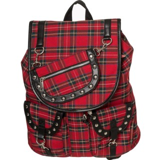 Sac a dos punk-rock tartan à rivets - Banned