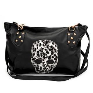 achat sac main en similicuir noir avec t te de mort bicolore pas cher. Black Bedroom Furniture Sets. Home Design Ideas