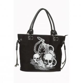 Sac à main goth-rock Banned noir à cranes, goussets et roses