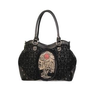 Sac à main gothique Banned noir à dentelles et motif style camée à femme squelette