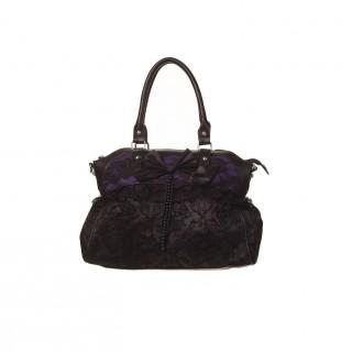 Sac à main gothique Banned noir et violet à dentelle et noeud papillon
