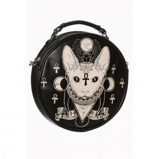 Sac à main gothique Banned rond à déesse chat Bastet