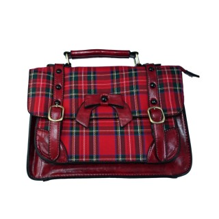 achat sac main r tro banned rouge tartan style. Black Bedroom Furniture Sets. Home Design Ideas