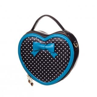 909598fb45 Sac à main Rockabilly Banned noir et bleu à pois en forme de coeur avec  noeud papillon