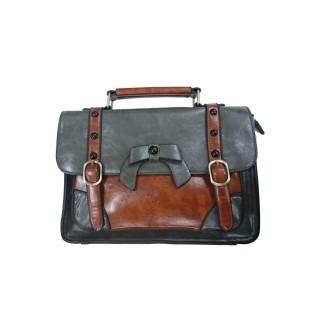 b13069eb9f Sac à main vintage Banned gris et marron style cartable à noeud papillon