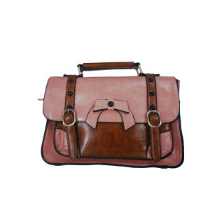 Sac à main vintage Banned rose pastel et marron style cartable à noeud papillon