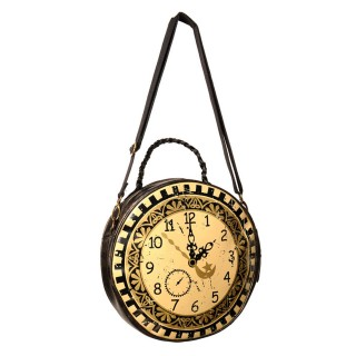 Sac bandoulière gothique Banned en forme d'horloge