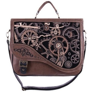 Sac bandoulière steampunk BROWN MECHANISM - Restyle