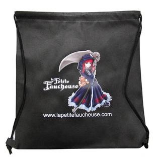"""Sac-besace noir à ficelles avec mascotte """"La Petite Faucheuse"""""""