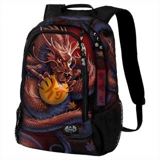 Sac à dos à dragon asiatique tenant une orbe magique