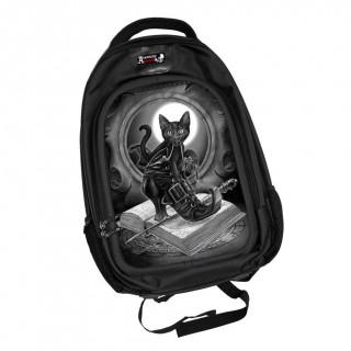 Sac à dos effets 3D gothique à chat noir et grimoire - Alchemy