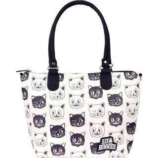 """Sac à main bandoulière """"Cats"""" noir et blanc à chats -  Six Bunnies"""