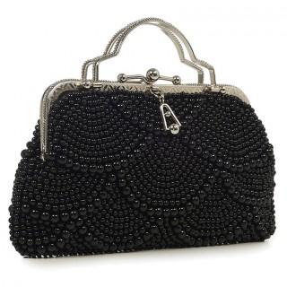 Sac à main couvert de perles noires modèle AGNES 20'S - Banned