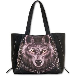 63aa0ce778 Achat Sac à main en similicuir noir avec loup et motifs amérindiens ...