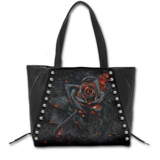 Sac à main goth-rock à rose noire incandescente