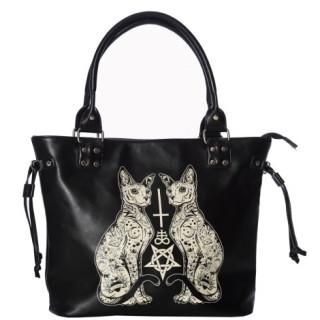 Sac à main gothique chats à symboles ésotériques  - Banned