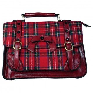 Sac à main rétro Banned Tartan style cartable à noeud papillon