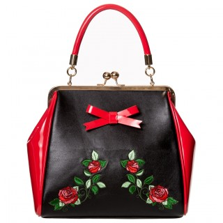"""Sac à main rétro à roses rouges """"FANTASY IN RED"""" - Banned"""