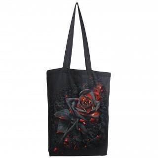 Sac shopping en toile à rose noire incandescente