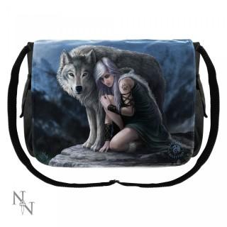 """Sacoche bandoulière Anne Stokes avec femme et loup """"Protector"""""""