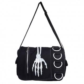 Sacoche bandoulière Banned gothique noire à main squelette et anneaux métalliques