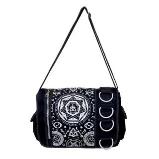 Sacoche bandoulière Banned gothique noire à motifs ésotériques et anneaux métalliques