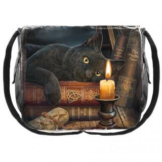 Sacoche bandoulière à chat noir et grimoire - Lisa Parker