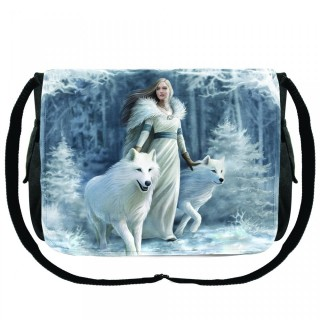 Sacoche bandoulière à femme et loups blancs - Anne Stokes
