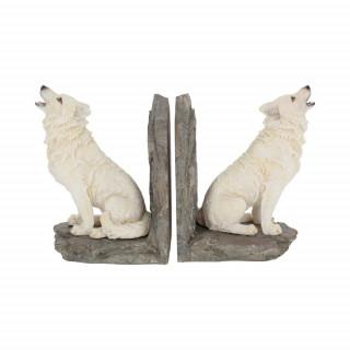 """Serre-livres à loups blancs """"Gardiens du Nord"""" - Nemesis Now"""