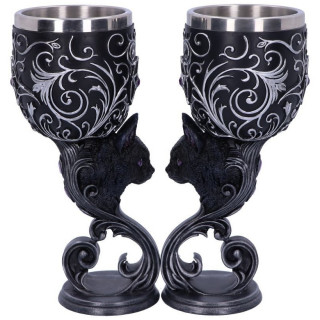 Set de 2 verres à pied chat noir Hex of the Heart - Amy Brown