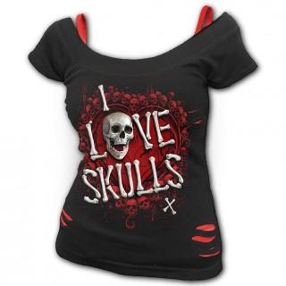 """T-shirt débardeur (2en1) à crane et coeur """"LOVE SKULLS"""""""