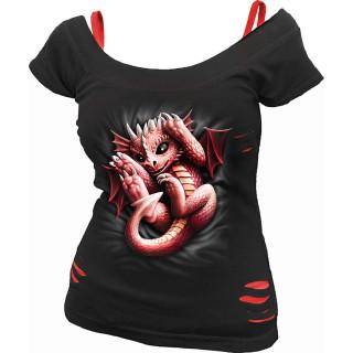 T-shirt débardeur (2en1) femme gothique à bébé dragon