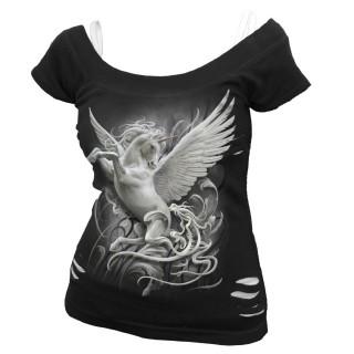 T-shirt débardeur (2en1) femme à Majestueuse Licorne blanche