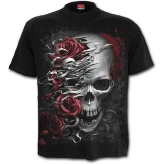 T-shirt enfant rock à roses et cranes déchirés
