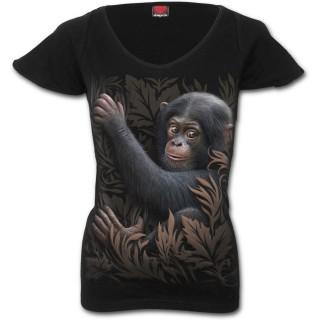 T-shirt femme avec bébé singe et feuillage marron
