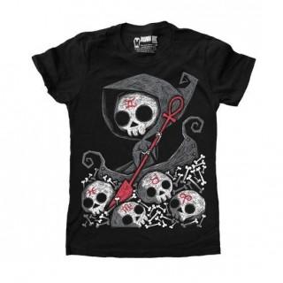 """T-shirt femme avec la Faucheuse sur le Styx """"Infernal River"""" - Akumu Ink"""