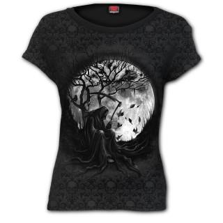 T-shirt femme avec La Faucheuse sur pleine lune