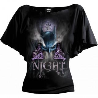 T-shirt femme BATMAN - JE SUIS LA NUIT à manches voilées (licence officielle)