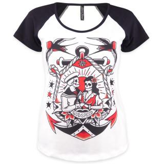 T-shirt femme couple de squelette et ancre marine - Liquor Brand