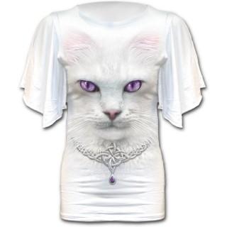 T-shirt femme gothique blanc à manches voilées avec chat à collier celtique