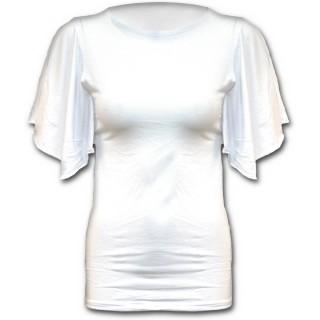 T-shirt femme gothique blanc à manches voilées style chauve-souris
