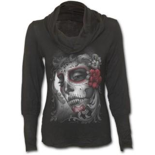 T-shirt femme gothique à col bénitier avec femme masquée et roses